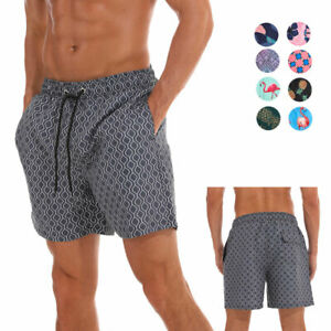 Mens-Swimwear-with-Mesh-Lining-Pockets-Quick-Dry-Swim-Shorts-Waterproof-Floral