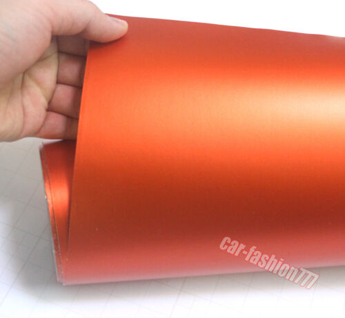 Orange Satin Matte Metal Chrome Vinyl Wrap Sticker Film Tape Car House Decors CB