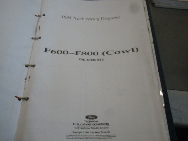 1994 Ford F600 F800 Cowl Truck Wiring Diagram Manual Fps
