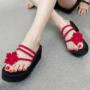 41b7c14f9f8 Women s Fashion High Heel Wedge Platform Flip Flops Sandal Slipper ...