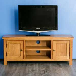 Image Is Loading Surrey Oak Large Tv Stand Solid Wood Plasma