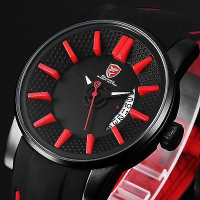 Grey Reef Shark Luxury Mens Date Sport Quartz Silicone Black Red Wrist Watch+Box