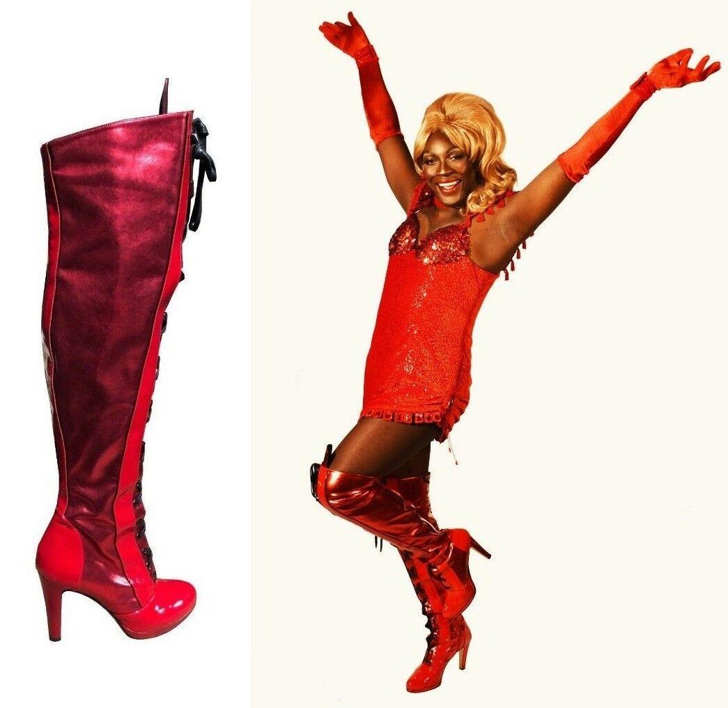 CQ COUTURE KINKY botas MADE ITALY OVERKNEE botas botas PATENT rojo rojo 35