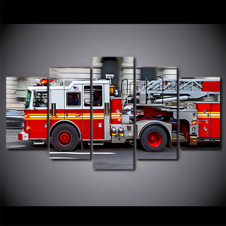Fire Engine Firefighter 5 Pieces Canvas Wall Art Poster Print Home Decor