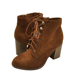 b65ff93c059a Women s Shoes Soda Lurk Faux Suede Lace Up Bootie Cognac  New