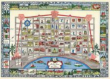 Midcentury Pictorial Map Piemonte Piedmont Italy Vintage Wall Poster Home School