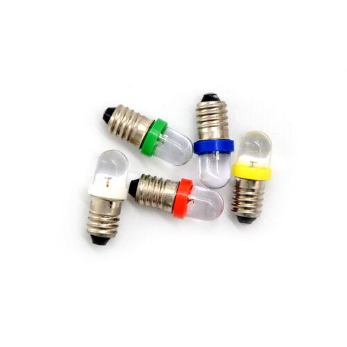 5PCS Schwachstromverbrauch E10 LED Schrauben-Unterseiten-Anzeigelampe DC-Licht ^