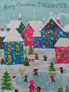 UNUSED-Vtg-Embossed-PINK-HOUSES-Merry-CHRISTMAS-Daughter-GREETING-CARD-w-Env