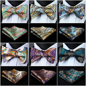 Mens-Woven-Self-Bow-Tie-Paisley-Floral-Check-Dot-Silk-Wedding-Handkerchief-SetI5