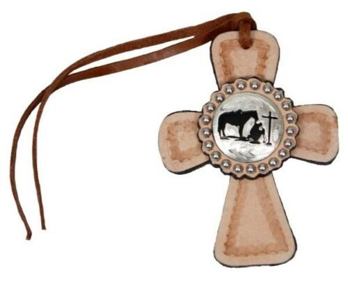 Showman Light Leather Saddle Tie On Cross w// Praying Cowboy Concho! NEW TACK!!