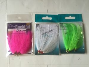 3-Packs-Assorted-Colors-Bucktail-Teaser-3-034-Pink-Green-White-BTPK3-BTC-3-BTW-3