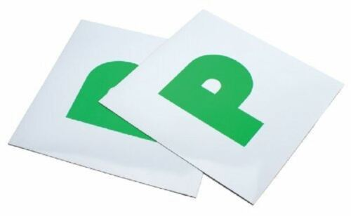 PACK OF 2 x MAGNETIC LEARNER GREEN P PLATES FRONT AND BACK CAR LEARNER DRIVER