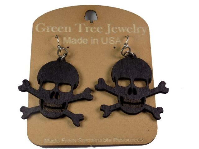 Green Tree Jewelry Black Satin Skull And Crossbone Wood Laser Cut Earrings 1209