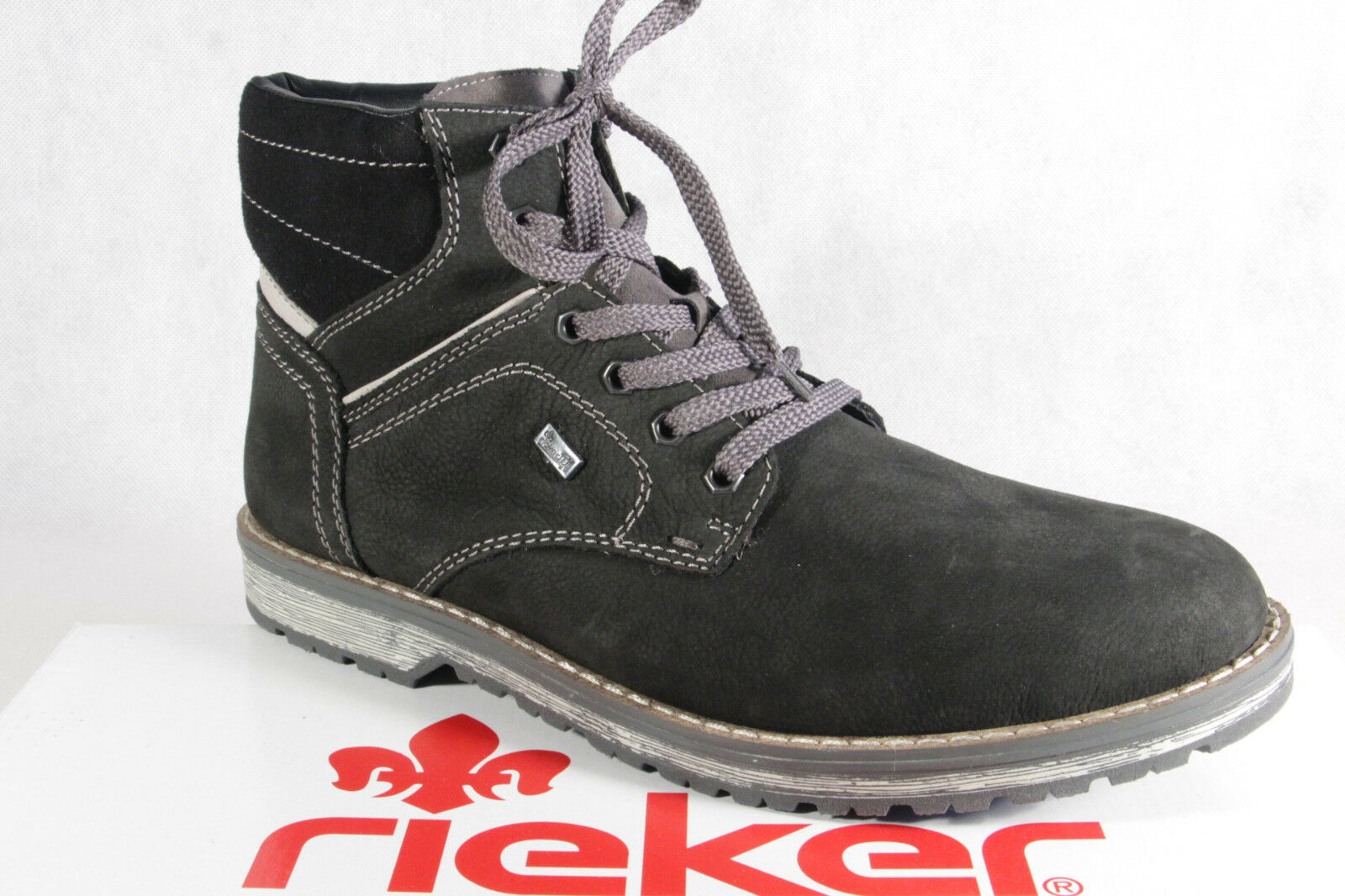 Rieker Men's Laced Boots Black Grey Leather Tex Real Lamb Wool New
