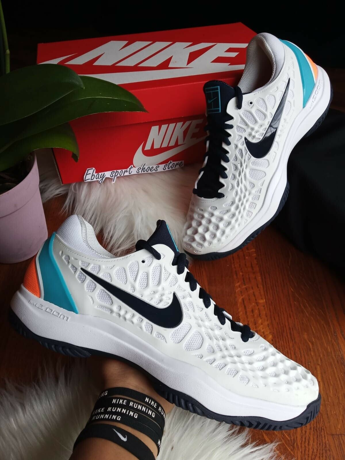 Taille 9 Homme NIKE AIR ZOOM CAGE 3 noir blanc 918193 104 chaussures de Tennis