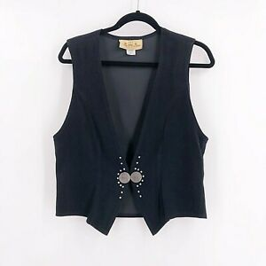 Vintage-New-Frontier-Womens-Size-Medium-Black-Vest-Micro-Suede-Cowgirl-Concho