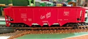 HO-scale-Chicago-Burlington-and-Quincy-4-bay-Hopper-Hook-couplers-CB-amp-Q-300747