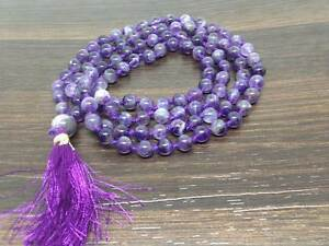 Natural 7mm Amethyst Knotted Mala with 108 Prayer Beads for Meditation Necklace