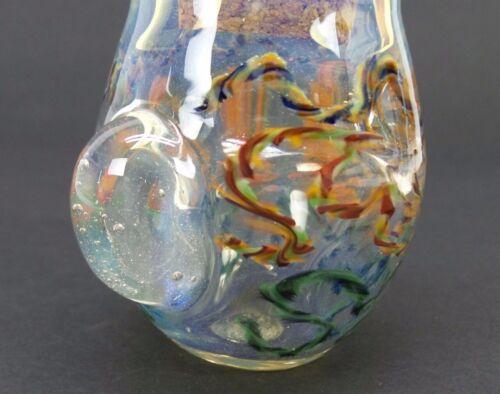 Decorative Glass Jar Squiggle Design With Magnifier Hand Blown Jar Cork Lid