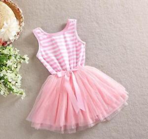 Infatigable Princesse Summer Party Tutu, Uni Rose Clair à Rayures Blanche Robe Tutu Avec Noeud-afficher Le Titre D'origine Prix ModéRé