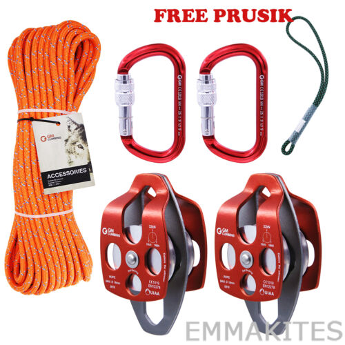 Pulley System Kit with Rope Carabiner Prusik for Climbing Rigging Hauling Caving