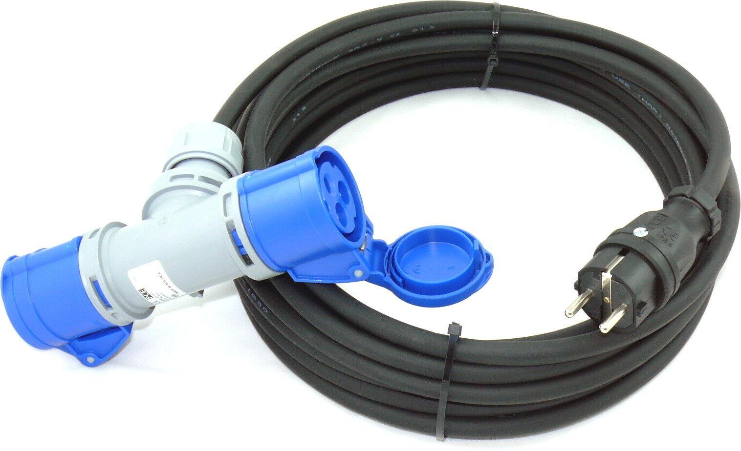 m Schuko Adapter auf CEE 2-Fach H07RN-F 3G2,5 3x2,5 PCE IP44 40m