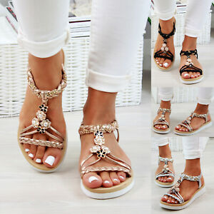 New Womens Low Heel Sandals Embellished Slingback Comfy Holiday Shoes Sizes 3-8