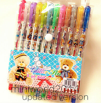 New!12PCS Fashion Cute Lovely Animal World Glitter Pen Gel Pen 12 Colors-0.8mm