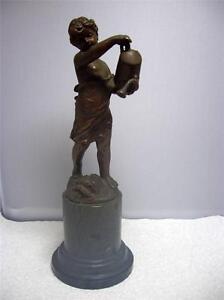 Antique Art Nouveau Bronze & Marble Statue of Child W/ Watering Can J