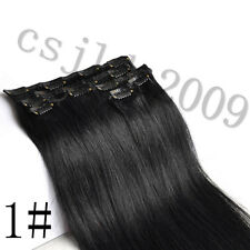 """14""""-30"""" 100% Clip In Real Human Hair Extensions Black Brown Blonde Highlight"""