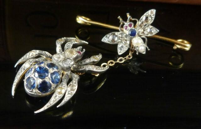 SAPPHIRE & DIAMOND BROOCH - SPIDER & FLY SPARKLING DIAMONDS & SAPPHIRES