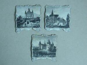 XIX Paket Antik Gravur Miniatur Architektur Denkmal Château Kirche