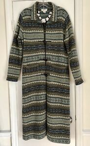 TALBOTS-Nordic-Fair-Isle-Duster-Cardigan-Horn-Toggle-Buttons-Sz-S-4-6-msrp-250