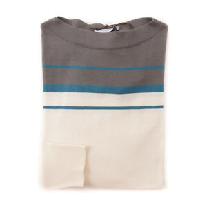 azulado L Nwt gris extrafino algodón a rayas crema de Boglioli Suéter verde 375 color qfH7S