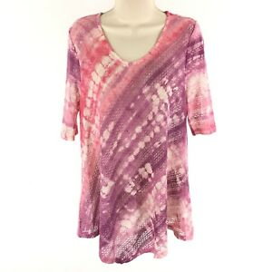 New-Directions-Women-039-s-Top-Open-Knit-Tunic-Asymmetrical-Pink-Ombre-Size-Medium