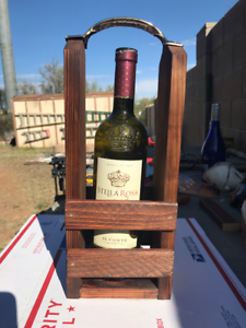 Details About Handmade Reclaimed Pallet Wood Wine Bottle Wine Glass Caddy Carrier