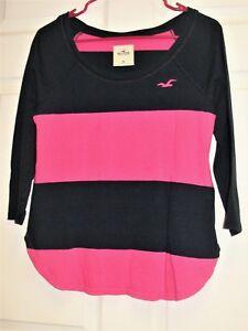 HOLLISTER-Women-039-s-3-4-Sleeve-Scoop-Neck-Shirt-Top-Black-amp-Pink-Striped-Size-M
