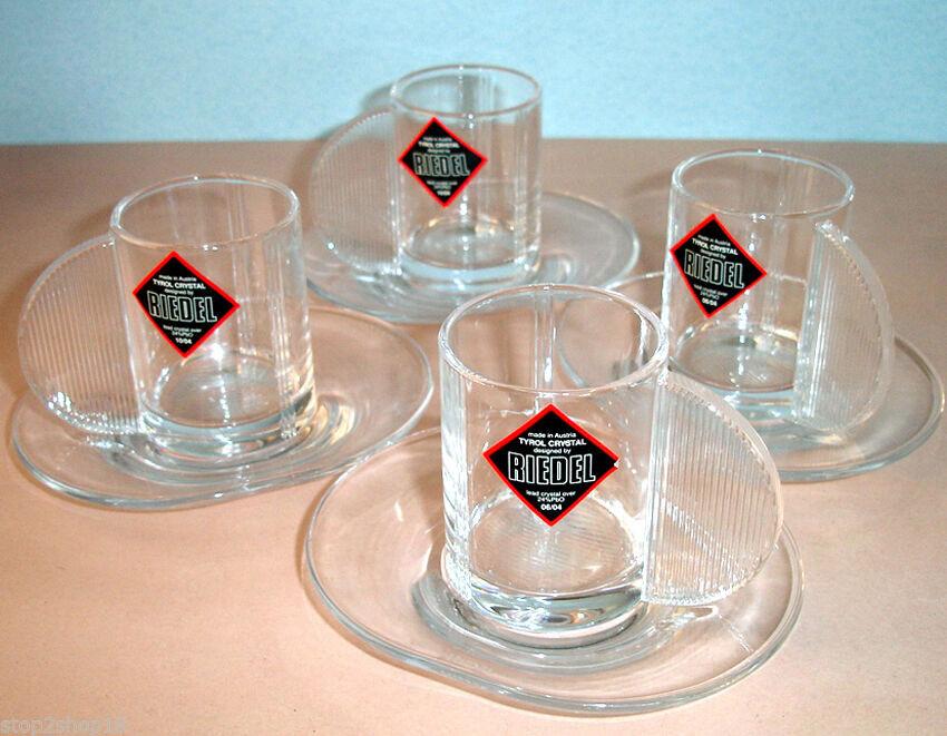 Riedel Espresso Crystal 8 Piece Set 4 Cups & 4 Saucers Unique Art Deco New