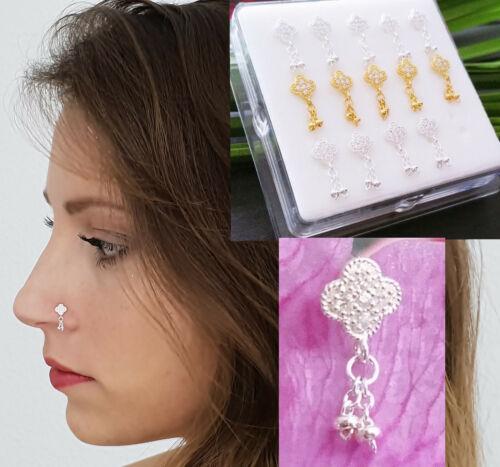 925 Silber Nasenpiercing Nasenstecker Nasenring Stecker Piercing Gold Ring