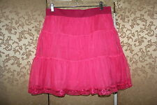 Free People Hot Pink Tulle Tutu Tiered Lace Mini Skirt Large L