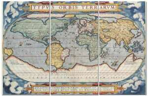 Vintage style latin world map 12 x 24 3 piece canvas print set ebay image is loading vintage style latin world map 12 034 x gumiabroncs Image collections