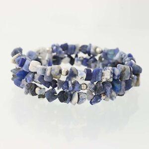 New-Beaded-Sodalite-Wrap-Bracelet-Blue-Stones-Adjustable-Size