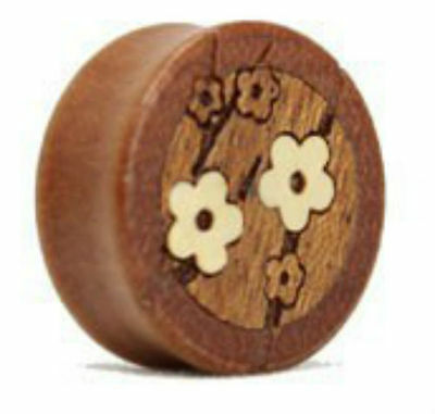 TIMBER WHITE FLOWERS PATTERN EAR PLUGS STRETCHERS JEWELLERY TUNNEL WOODEN PL41