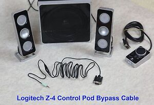f9a2ba76685 Control Pod Bypass Cable w/ volume control for Logitech Z-4 Computer ...