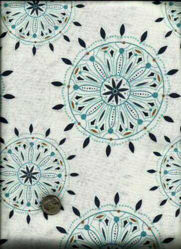 "2013 My Mind/'s Eye Riley Blake /""Indie Chic/"" Print aqua teal on cream Fabric"