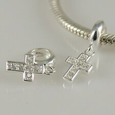 CROSS-Crocifisso-CRISTIANO-Solido 925 argento Sterling Charm Bead Europeo/Ciondolo