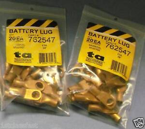 40PK-3-8-034-4GAUGE-UNPLATED-COPPER-BATTERY-WIRE-CABLE-CRIMPABLE-LUGS-ENDS-4AWG-LUG