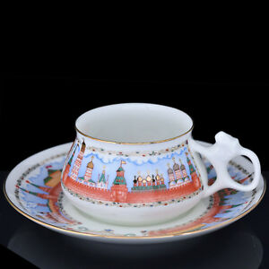Coffee-Cup-amp-Saucer-Lomonosov-Porcelain-Moscow-Kremlin-IFZ-Russia
