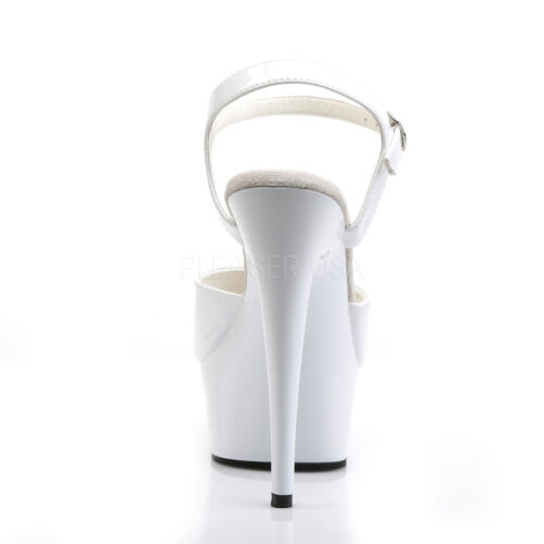Strap Slide Stiletto Pleaser Ladies White Delight 609 Heel Shoes Platform q88I0Zw