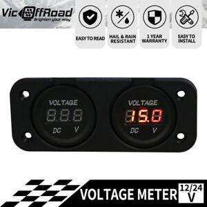 12V-24V-Car-Boat-Motorcycle-Dual-LED-Digital-Display-Voltmeter-Voltage-Meter-AU